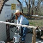 Pumping propane at Falcon Meadow RV Campground near Colorado Springs