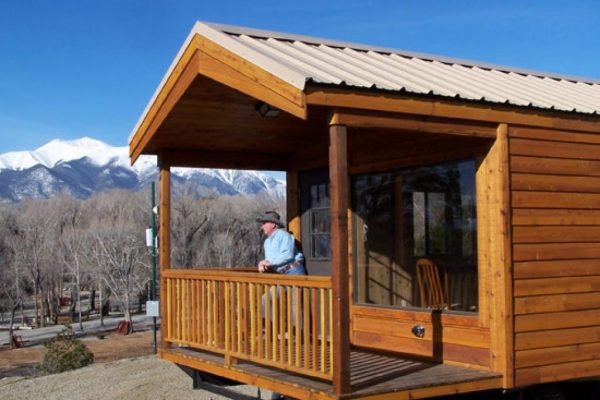 Luxurious cabins, complete with bedroom, kitchen, and full bath at Chalk Creek RV Park & Campground near Buena Vista Colorado