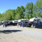 Mature trees and plenty of parking at Gunnison Lakeside RV Park and Cabins in Colorado