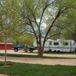 Shady RV sites with mature trees at High Country RV Park in Naturita CO
