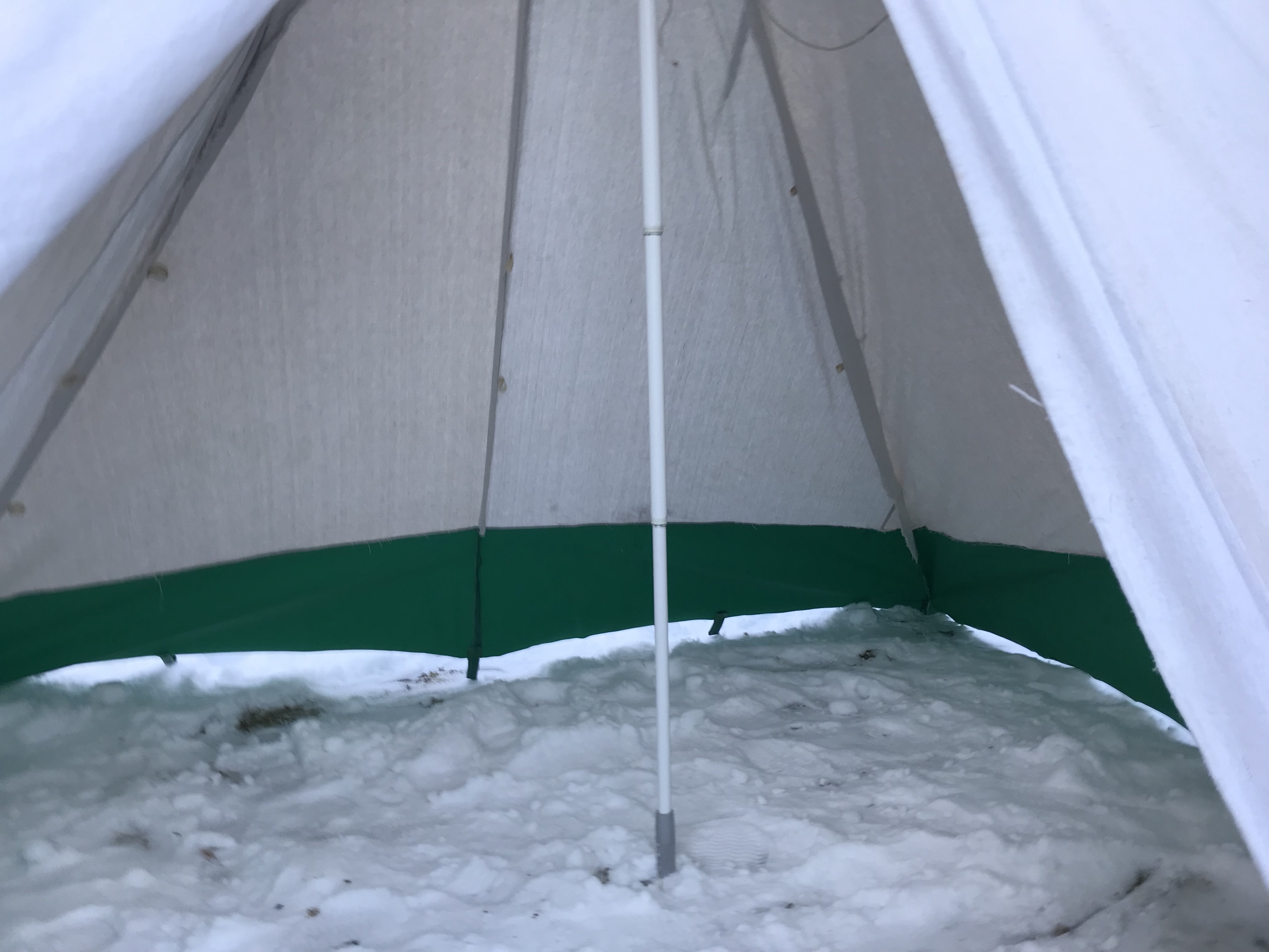 On my trip backcountry c&ing at Go Home Lake Sue went to exit the tent and when she pulled the zipper down the pole sunk and dropped the whole tent with ... & Hot Tent Renou0027s -Stabilization of the Painters Pole ...