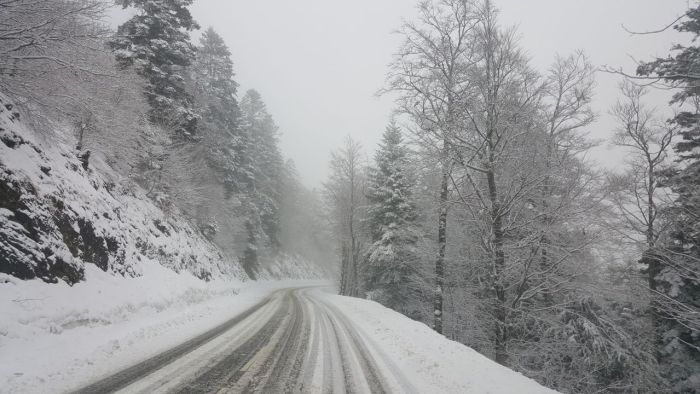Schneegestöber in den Bergen