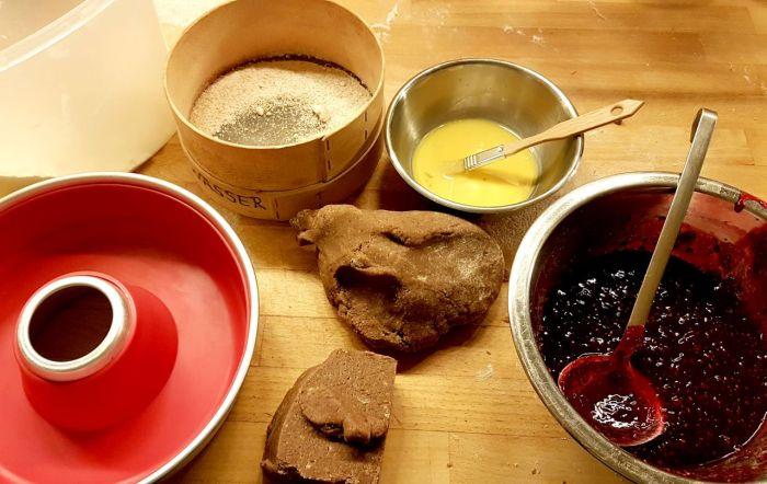Zutaten für die Linzertorte im Omnia gebacken