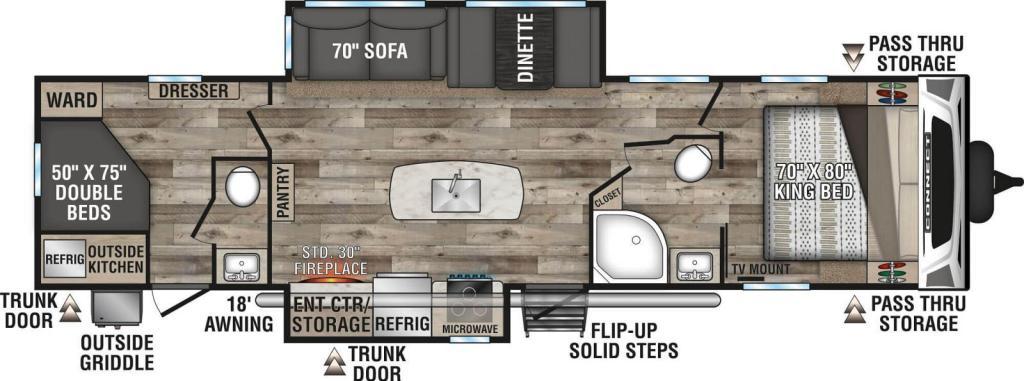 2021-KZ-RV-Connect-C332BHK-Travel-Trailer-Floorplan