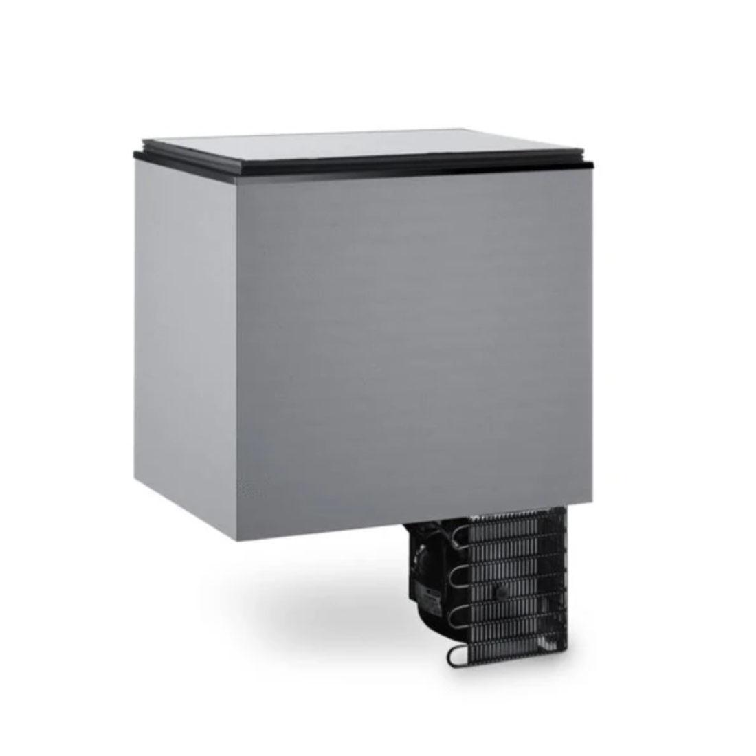 Dometic campervan refrigerator cooler top loading, side.