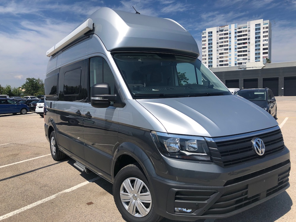 VW Grand California for sale in Portugal with silver and grey two tone paint.