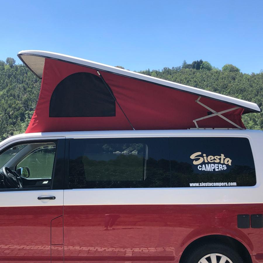 VW campervan pop up roof side profile.