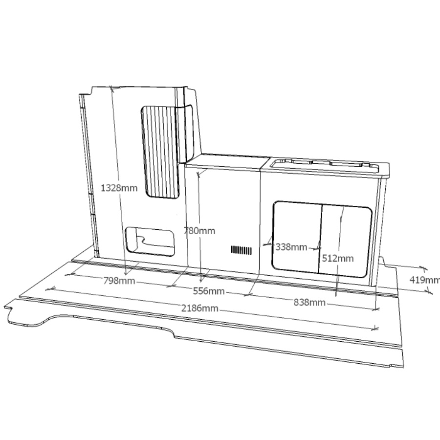 VW T5 & T6 California complete furniture kit dimensions.