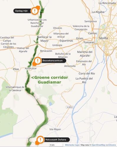 Overzichtskaart stroomgebied Guadiamar.