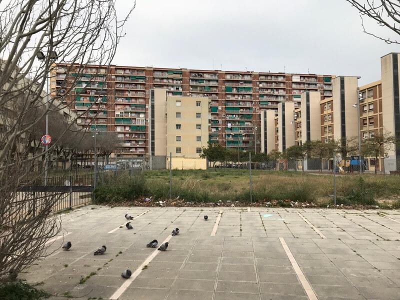 Zicht vanaf Ronda de Sant Ramon de Penyafort (wijk Besòs i El Maresme).