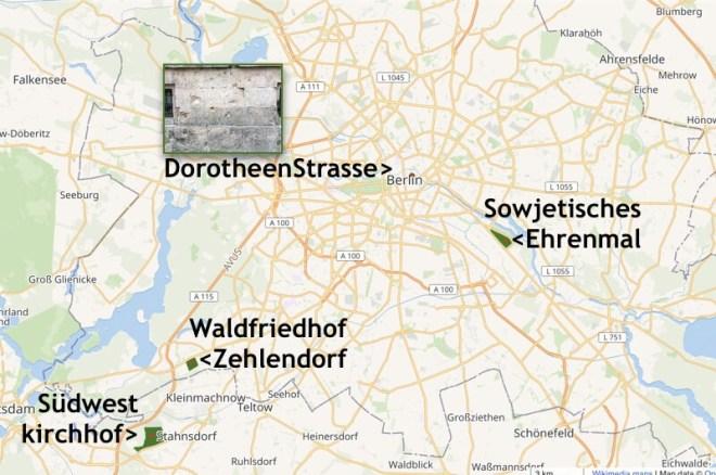 De kaart met de besproken plaatsen.