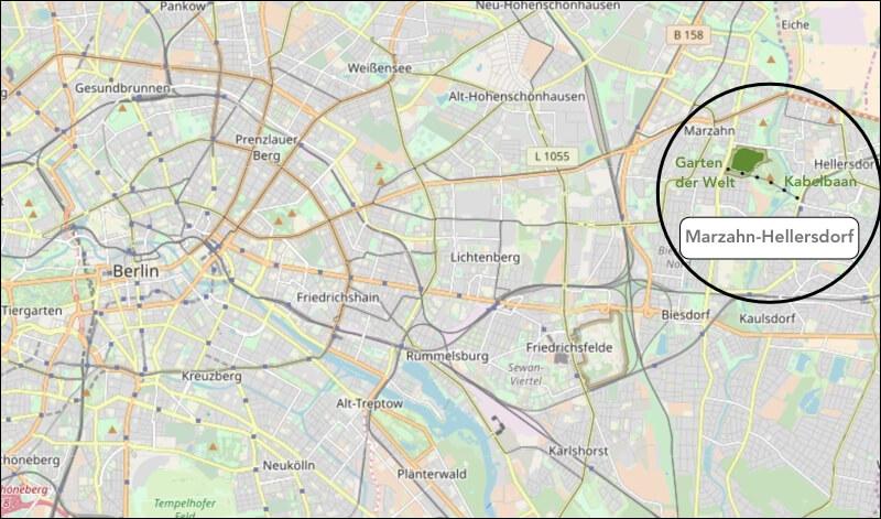 Marzahn-Hellersdorf ligt in het oosten van Berlijn op 12 kilometer afstand van de Fernsehturm.