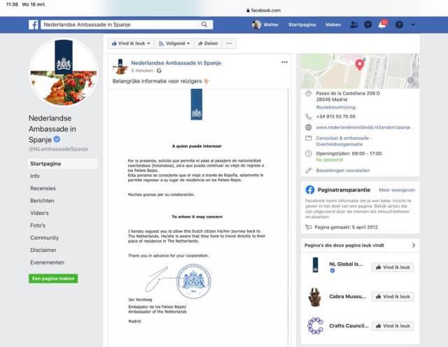 Vrijbrief van de Nederlandse ambassade voor de reiziger die naar huis wil. Facebookpagina Nederlandse Ambassade 18 maart. (Spanje) (Noordtoestand).(Corona).