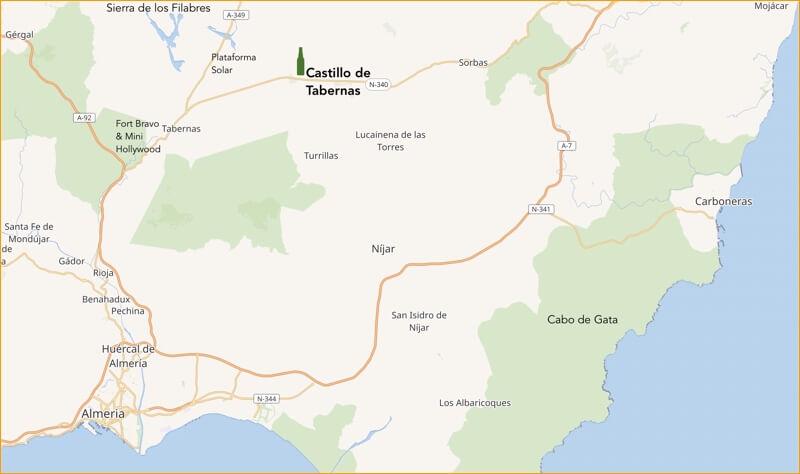 Castillo de Tabernas ligt vlakbij het van westerns bekende, gelijknamige woestijnstadje.