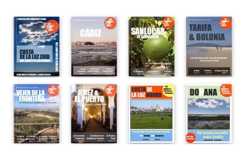 Onze e-reisgidsenreeks, met de verschillende e-boeken over de Zuid-Spaanse Costa de la Luz.