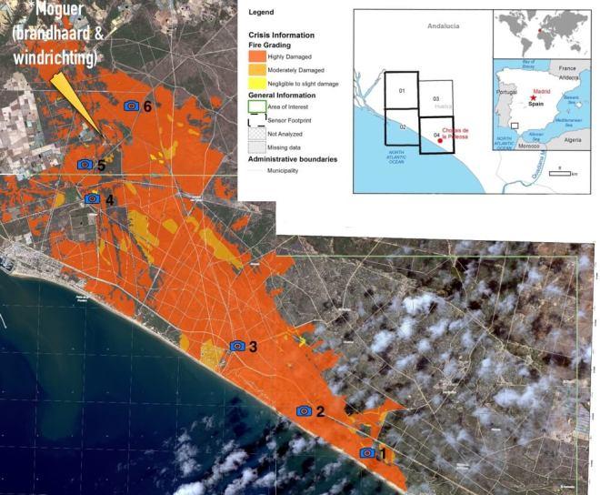 Satellietkaart van het verbrande gebied. De fototoestelletjes met cijfers maken duidelijk waar wij gefotografeerd hebben. (Bron: Copernicus)
