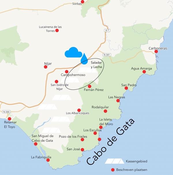 Kaart uit onze e-reisgids met het getroffen gebied.
