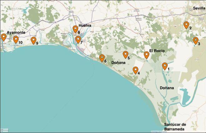 Kaart van de Zuid-Spaanse Costa de la Luz Noord, het gebied dat wij de afgelopen maanden bezocht hebben.