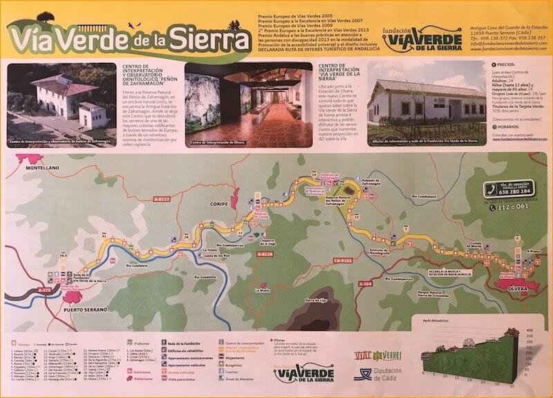 De route van de Via Verde. Kaart is verkrijgbaar bij het informatiecentrum bij het begin van het fietspad.