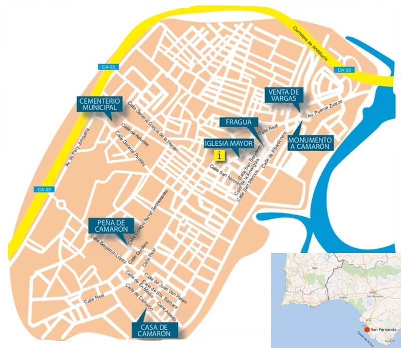 De belangrijkste bezienswaardigheden rond Camarón in San Fernando (Kaart gemeente en OSM).