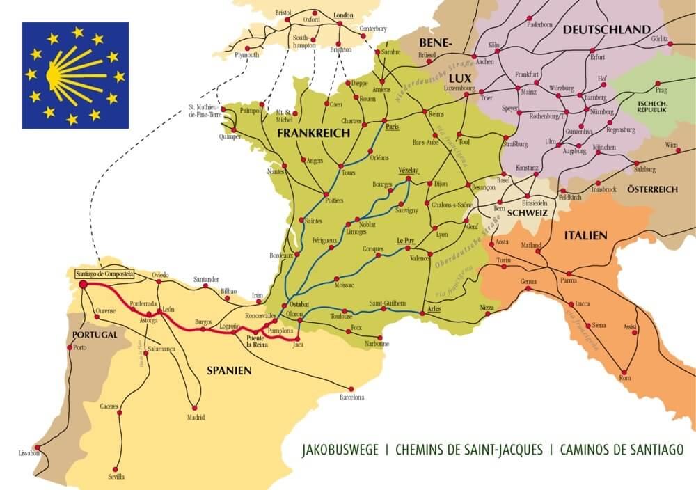 De Caminoroutes in Europa.