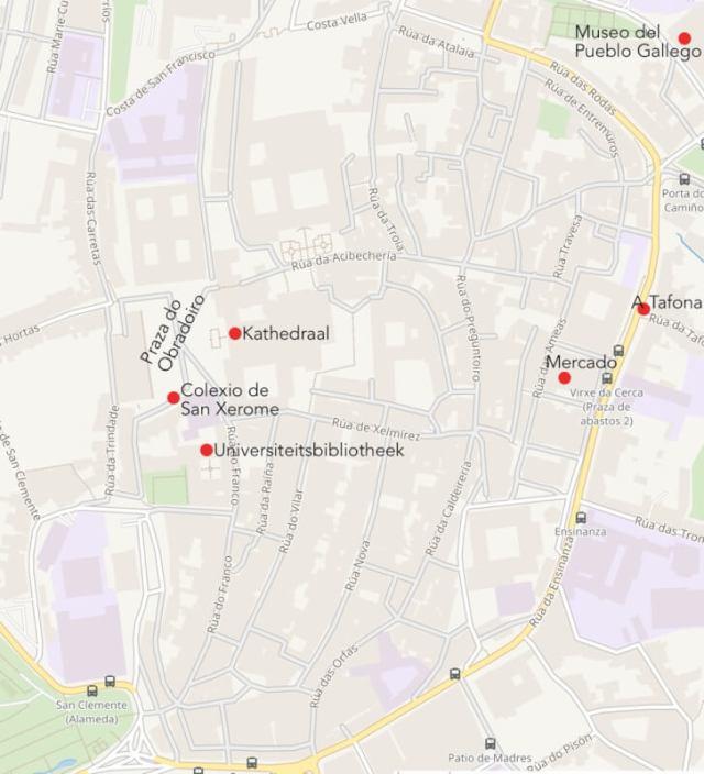 Kaart van de binnenstad van Santiago de Compostela.