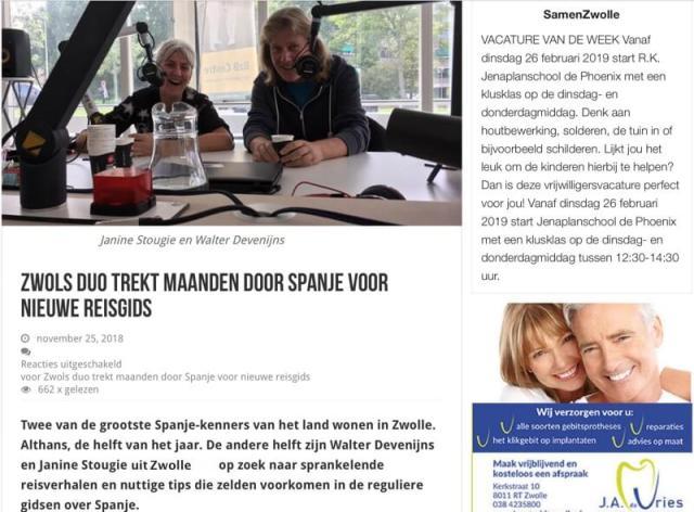 Voorpagina nieuwsblog ZwolleNu.nl: ' Twee van de grootste Spanje-kenners van het land'. We voelden ons vereerd en kregen blosjes op onze wangen.