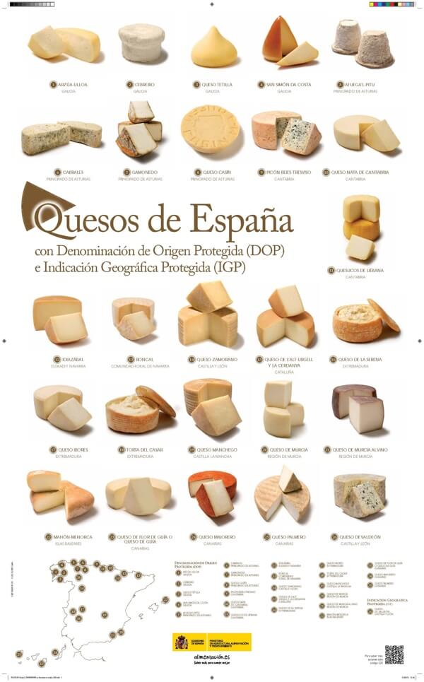 Spanje is trots op z'n kazen. Zo geeft het land een poster uit met daarop de belangrijkste kazen van het land.