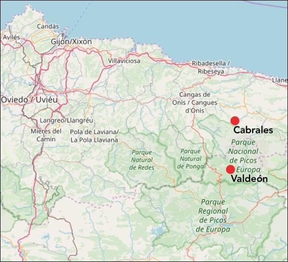 Plattegrond van Picos de Europa met Cabrales en Valdeón.