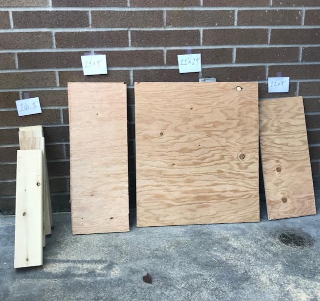 Measurements of wood to build a composting toilet