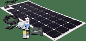 Produkte für die Selbstmontage - Solarset 110W mit flex Modul für extrem geringe BAutiefe vom CAmpervan & Wohnmobil Service Hannover