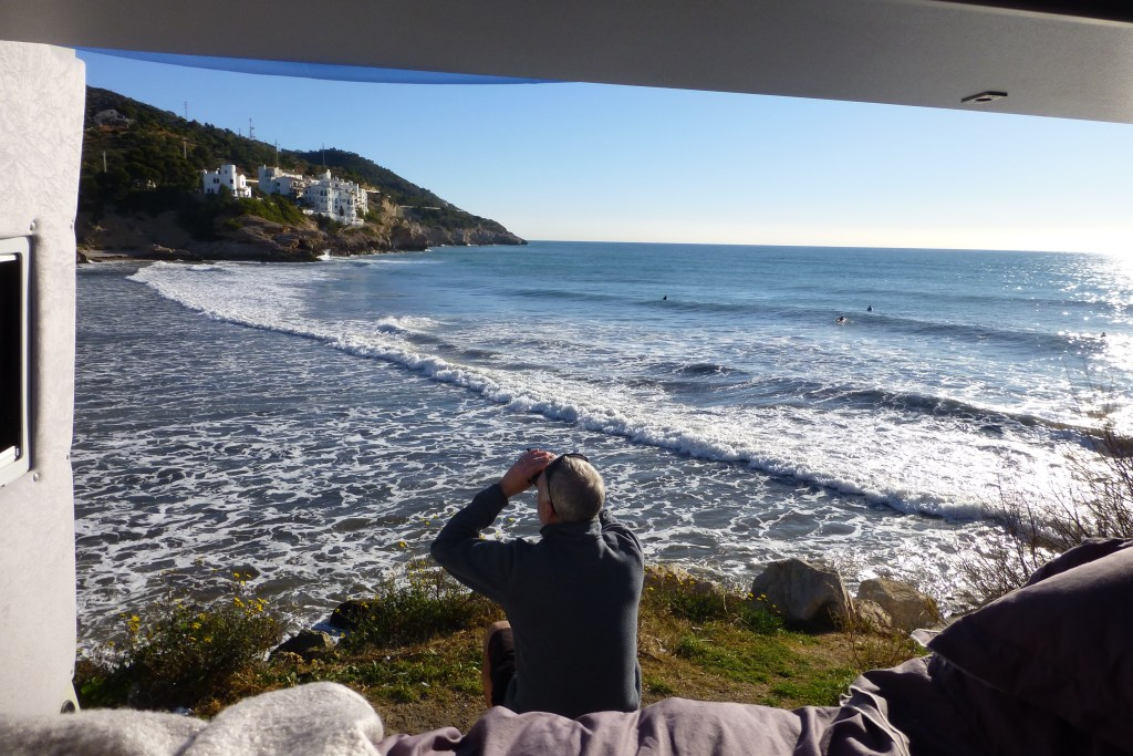 vanlife4x4 surf watching in Sitges, Spain