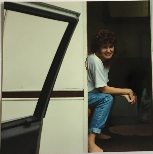 Loving our little Sprite van aged 18 and big hair!