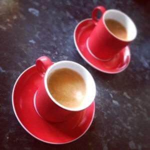espresso in red cups