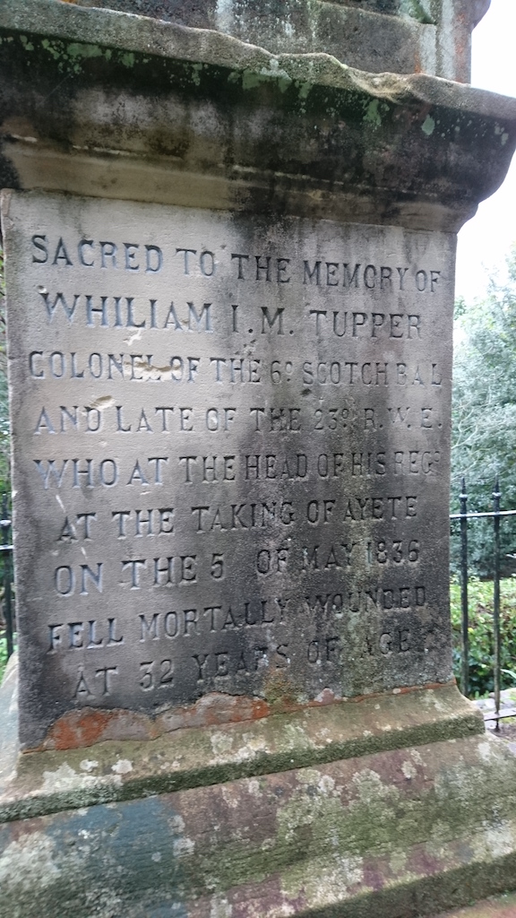 Here lies Colonel William Tupper - on the high hill overlooking San Sebastian
