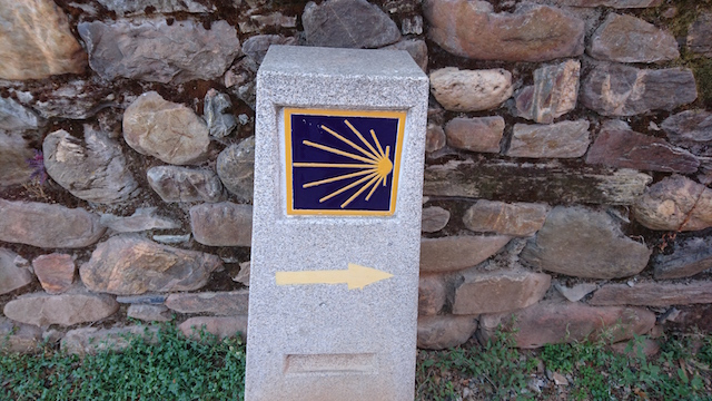 The scallop shell symbol to mark the Camino pilgrim route to Santiago de Compostela - you see them everywhere (on the route that is)