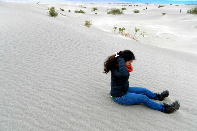Kam of Campfire Chic visiting the sand dunes in Death Valley National Park