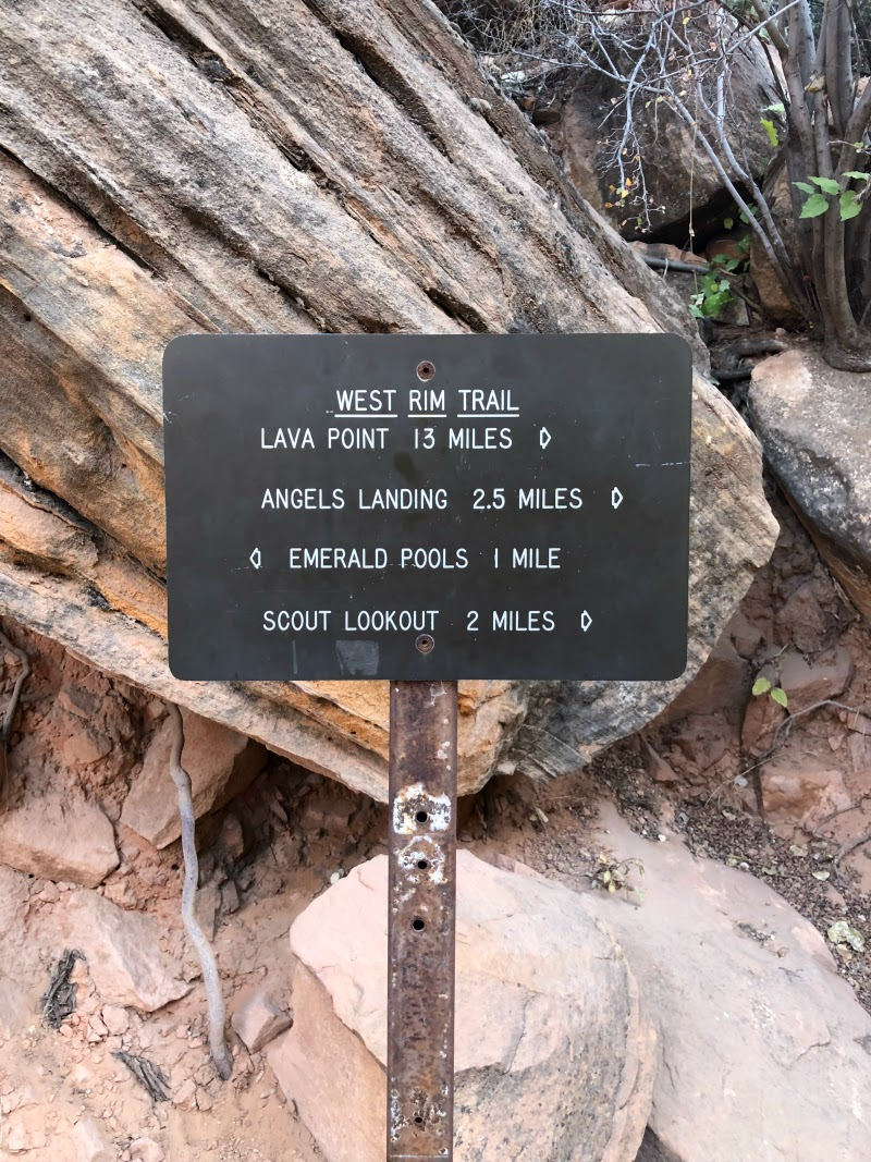 West Rim Trail Sign Toward Angels Landing in Zion National Park - Campfire Chic