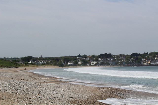 The pebble beach with Ballycastle in the background.