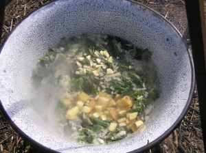 nettle soup cooking
