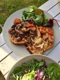 Breakfast bruschetta with mushrooms