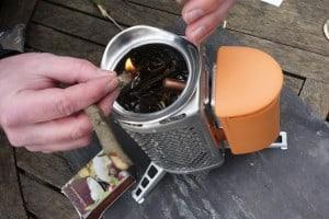 Lighting the Biolite camping stove