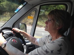 On the open road - Eileen behind the wheel.