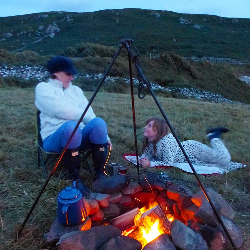 Campfire cooking in Wales