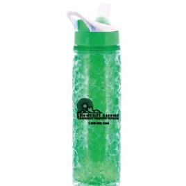 Penguin- Bulk Custom Printed Freezer Gel Water Bottle with Pop-up Straw