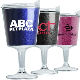 Flamingo- Bulk Custom Printed 12oz Glitz Double Wall Acrylic Tumbler with Glitter Insert