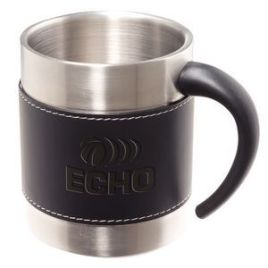 Buckskin Mug- Bulk Custom Debossed Double-Wall Stainless Mug with Faux Leather Sleeve