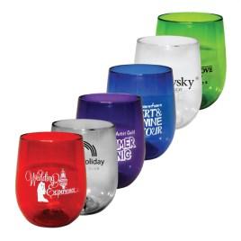 Poppy- Bulk Custom Printed 12oz Stemless Plastic Wine Glass
