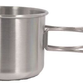 Knapsack- Bulk Custom Printed 15 Oz. Stainless Steel Camping cup/bowl w/extended foldable handle