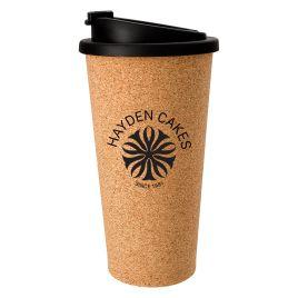 Bulk Custom Printed 16oz reusable cork tumbler coffee cup with lid